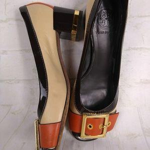 Tory Burch Shoes - Tory Burch Lynn Peep Toe Sz 7.5 Chunky Heel Gold